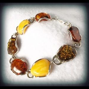 Jewelry - Baltic Amber SS Statement Piece Bracelet NWOT